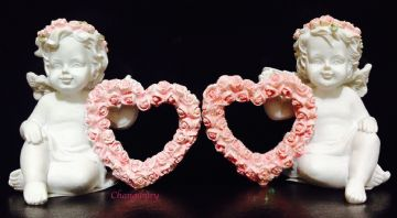 Cherub Pair Sitting and Holding PINK Rose Hearts (Set of 2) CHE112